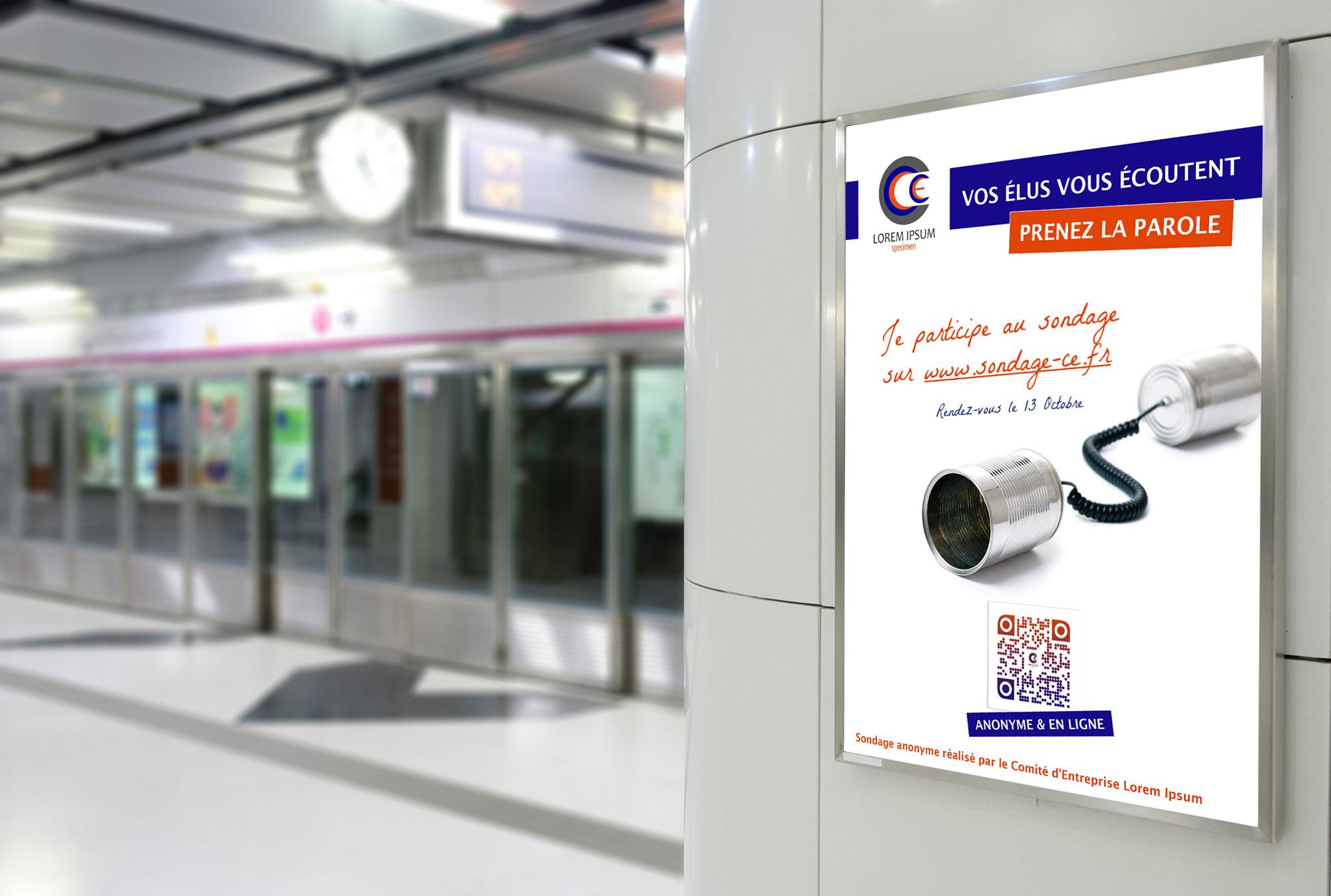 affiche campagne de promotion du sondage du CE